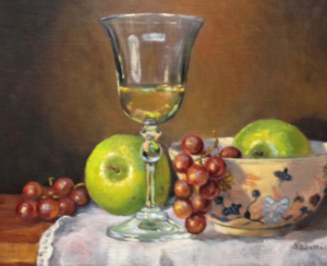 Wine, Grapes and Green Apples, 11x14 framed oil $750