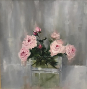 Pink Roses 24x24 oil $400